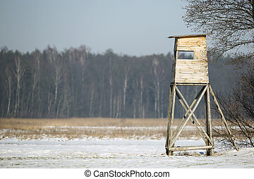 Hunting pulpit in winter