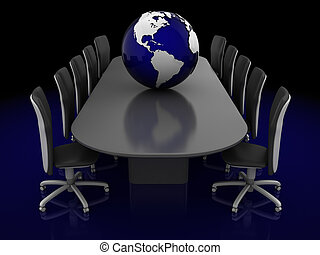 global conversation - 3d illustration of conversation table...