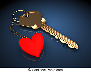 key to heart - 3d illustration of golden key with heart,...