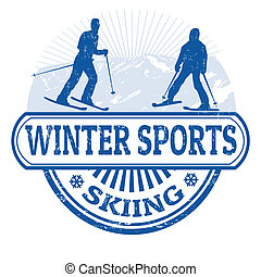 Winter sports skiing stamp