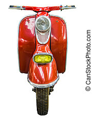 Isolated Vintage Scooter - Isolation Of Red Vintage Retro...