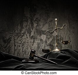 Scales and wooden hammer on judges mantle