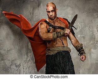 Ferido, gladiador, espada, coberto, sangue, isolado,...
