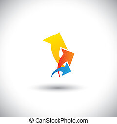 colorful arrows representing profit & revenue growth -...