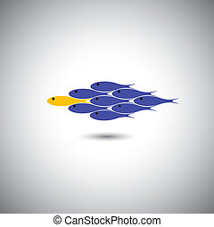 leadership vector concept - leader fish & team. This graphic...