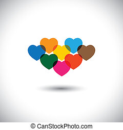 Colorful abstract heart or love icons - vector