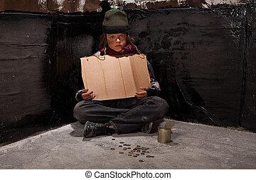 séance, quelques-uns, enfant, mendiant, signe, sombre, sdf,...