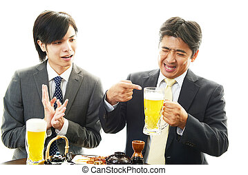 Men drinking beer - Happy Asian men drinking beer