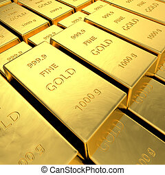Gold Bars - Gold bars High resolution 3D rendering