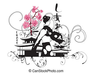 Geisha - Illustration of a geisha and orchids