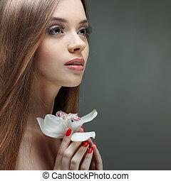 美しい, 女の子, 花, 化粧品, 感情
