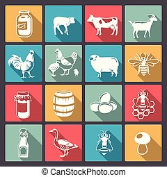 icons of farm animals in flat desig - Vector icons of...