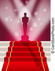 red carpet - illustration of Oscar red carpet