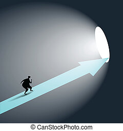 The Way Out - Vector illustration of a man walking on an...