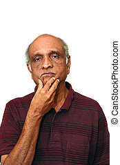 Wondering - Old Indian Immigrant thinking about something