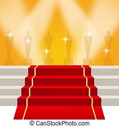 illustration of red carpet - illustration of Oscar red...