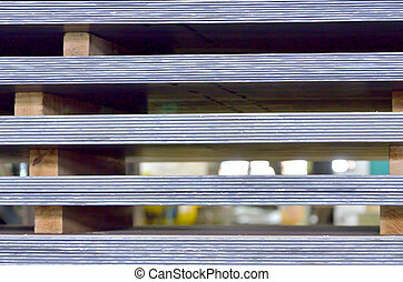 stack of steel plate in factory