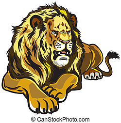 lion front view illustration isolated on white background