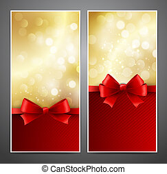 Vector gift card with red bow and ribbon