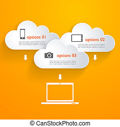 Network clouds with infographic elements and icons - Vector...
