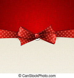 Holiday background with red polka dots bow