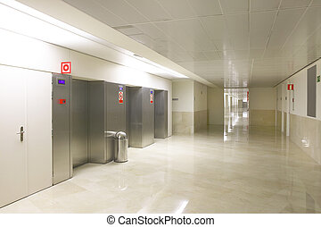 Elevators on Hospital entrance and corridor no people
