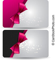 Holiday gift card with pink ribbons and bow. Vector...
