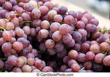Red grapes on sale at the local farmers market.