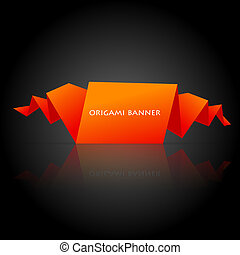 Abstract orange origami speech bubble - Vector illustration...
