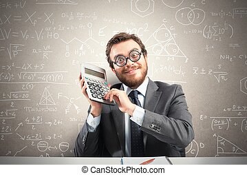 Nerd businessman - Concept of success with happy nerd...