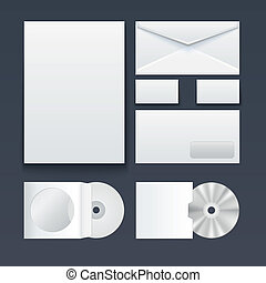 Corporate identity templates ? blank, business cards, disk, pen, envelop. Isolated with soft shadows