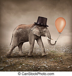 Elephant with a balloon - Elephant with a orange balloon
