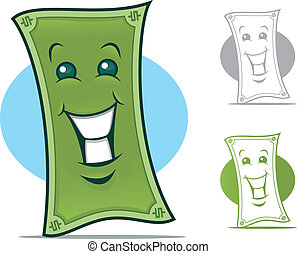 Dollar Bill Character - Dollar Bill Cartoon Character with a...