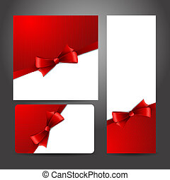 Holiday gift card with red ribbons and bow.. Vector...