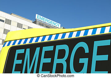 Emergency sign on hospital and ambulance - Emergency sign on...