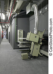 Corridor with projectors and machinery for cinemas