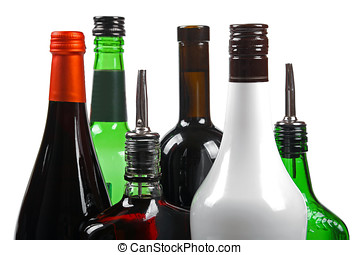 variety of alcoholic beverages isolated on white