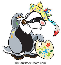 cartoon badger artist,picture for creative kids,children...