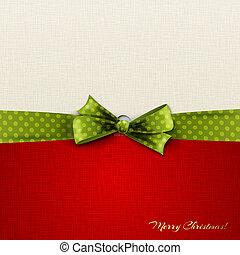 Vector illustration Greeting card with green polka dot bow