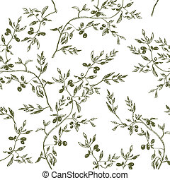 Seamless olive branch pattern hand drawn design