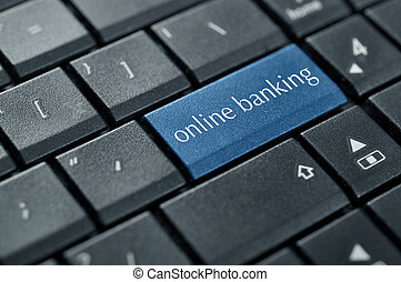 Concept of online banking. Word online banking on button of...