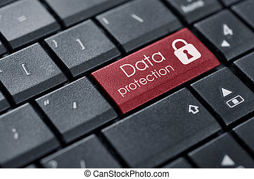 Security Concept Words Data protection on button of computer...