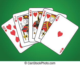 Royal Flush of Hearts on green background. The figures are...