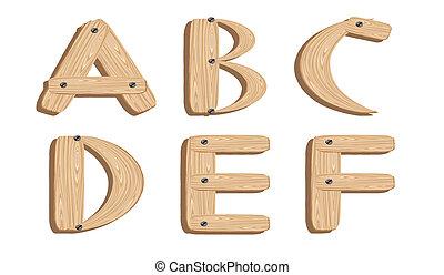 wooden alphabet letters A,B,C,D,E,