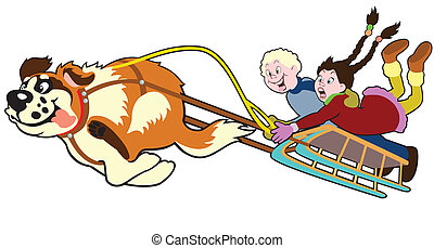 dog pulling sledge with children,cartoon image isolated on...