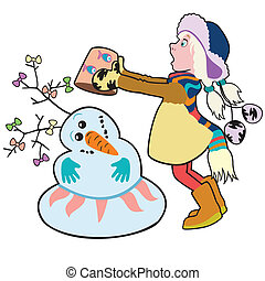 girl building a snowman - girl building a snowman, cartoon...