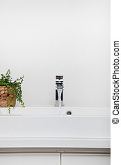 Modern white handbasin and leafy green potted plant in a...
