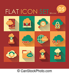 cloud network icon set - vector cloud network icon set flat...