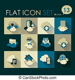 cloud network icon set vector flat design