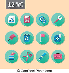 flat icon set - vector modern flat design computer icon set